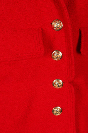 Recess Vintage Chanel Red Curved Lapel Bouclé Jacket, Button Detail