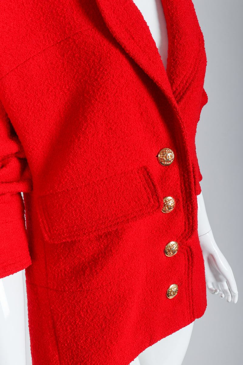 Recess Vintage Chanel Red Curved Lapel Bouclé Jacket, Waist Detail