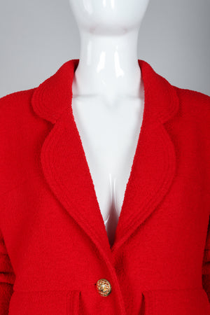 Recess Vintage Chanel Red Curved Lapel Bouclé Jacket, Lapel Detail