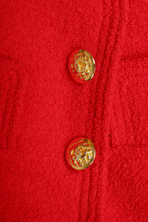 Recess Vintage Chanel Red Curved Lapel Bouclé Jacket, Button Close UP