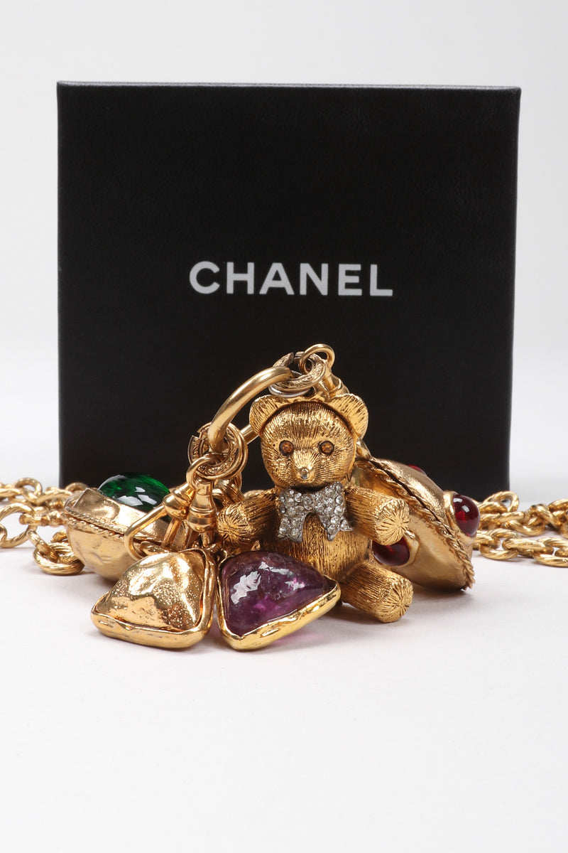 Recess Los Angeles Vintage Chanel Gripoix Teddy Bear Locket Snuff Charm Necklace