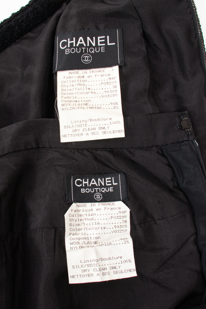 Vintage Chanel SS 1994 Runway Jelly Bow Bouclé Jacket & Skirt Set labels @ Recess
