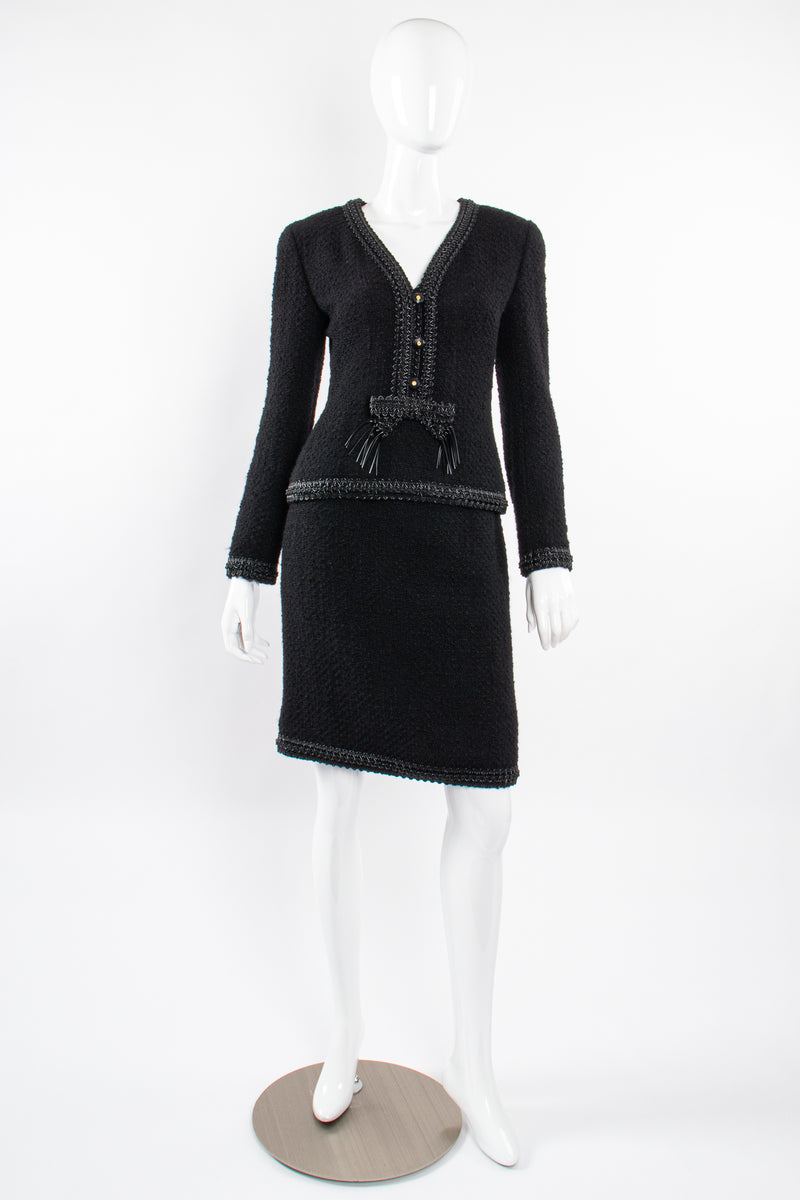 Vintage Chanel SS 1994 Runway Jelly Bow Bouclé Jacket & Skirt Set on Mannequin front @ Recess LA