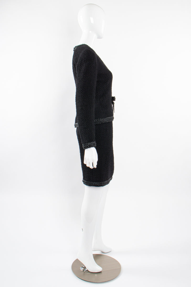 Vintage Chanel SS 1994 Runway Jelly Bow Bouclé Jacket & Skirt Set on Mannequin side @ Recess LA