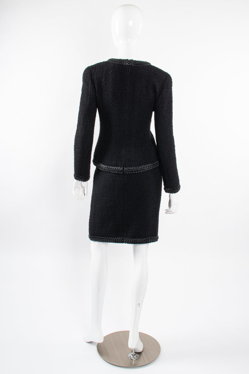 Vintage Chanel SS 1994 Runway Jelly Bow Bouclé Jacket & Skirt Set on Mannequin back @ Recess LA