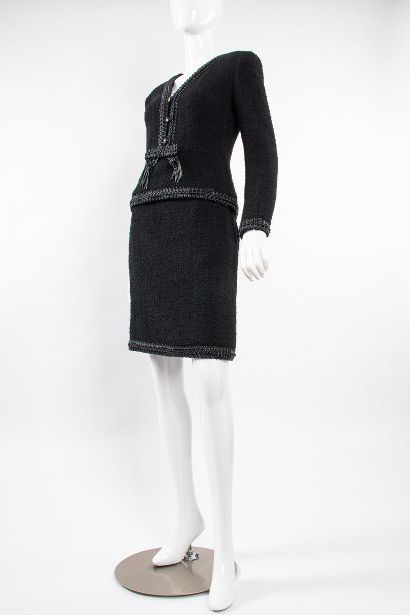 Vintage Chanel SS 1994 Runway Jelly Bow Bouclé Jacket & Skirt Set on Mannequin angle @ Recess LA