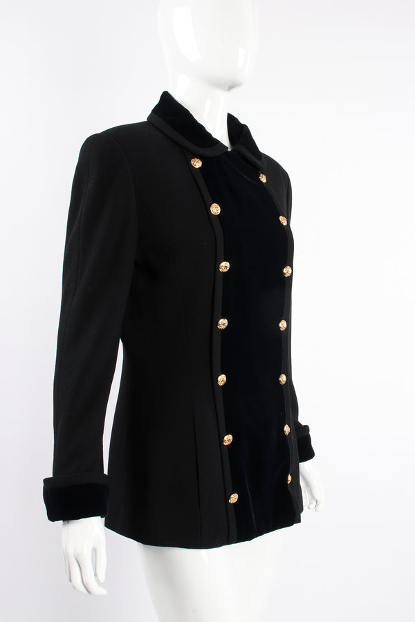 Vintage Chanel Velvet Contrast Uniform Peacoat on Mannequin angle at Recess Los Angeles
