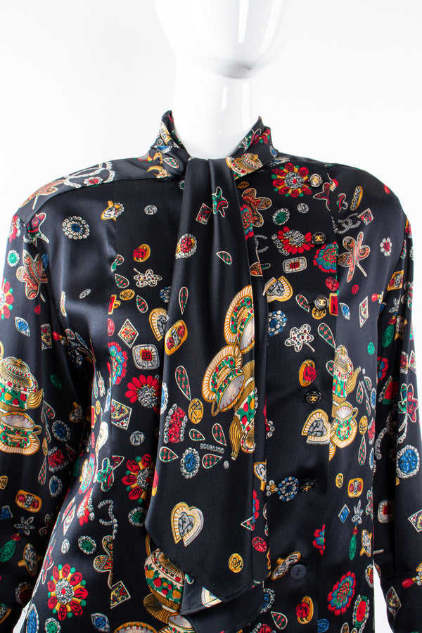 Vintage Chanel Jewel Print Silk Scarf Blouse on Mannequin neck detail at Recess Los Angeles