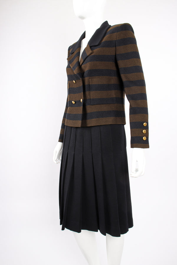 Vintage Chanel Striped Boxy Jacket & Skirt Set on Mannequin angle at Recess Los Angeles