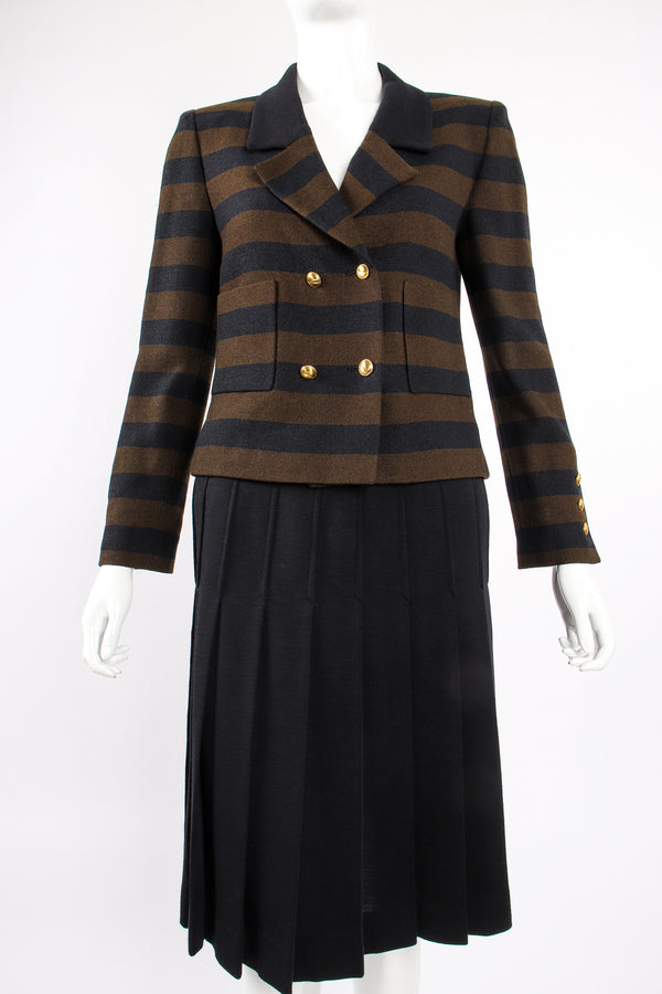 Vintage Chanel Striped Boxy Jacket & Skirt Set on Mannequin crop at Recess Los Angeles