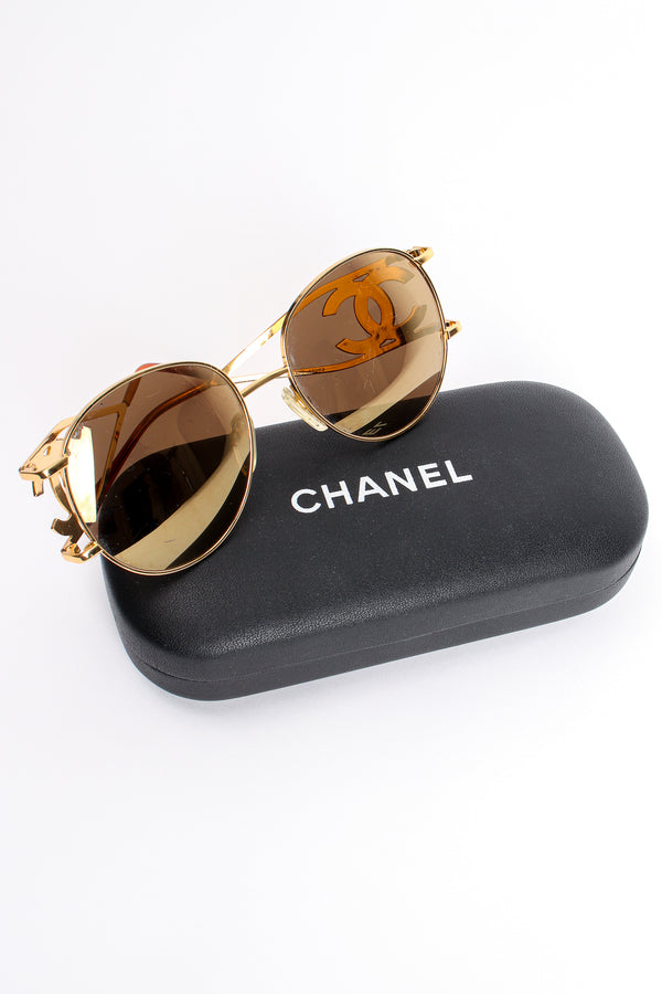 Vintage Chanel 1990s CC Gold Mirror Miller Sunglasses with case at Recess Los Angeles