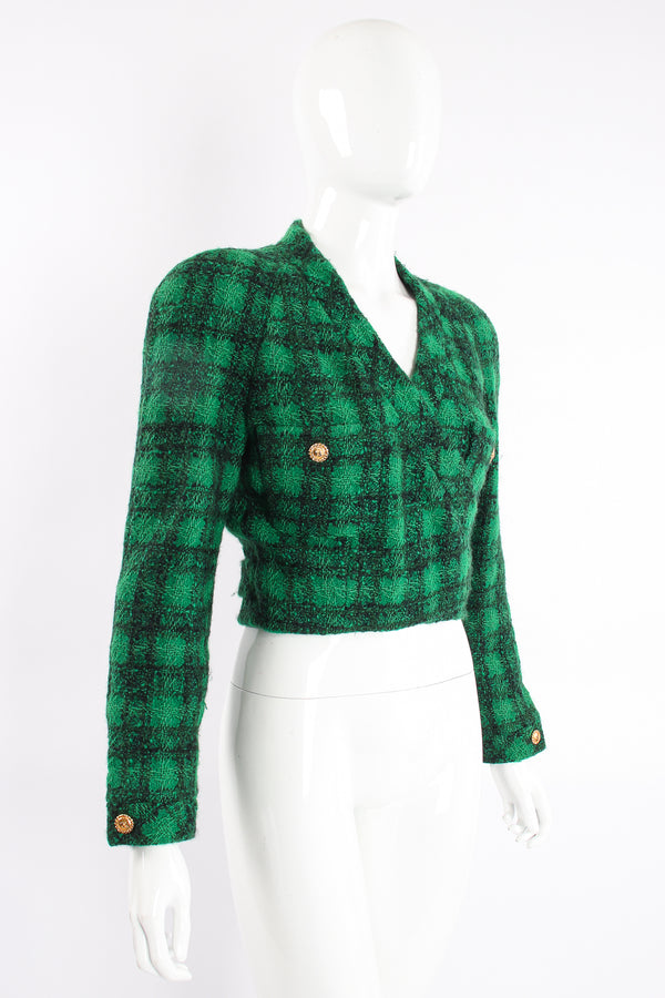 Vintage Chanel Bouclé Plaid Tweed Wrap Jacket on Mannequin Angle at Recess Los Angeles