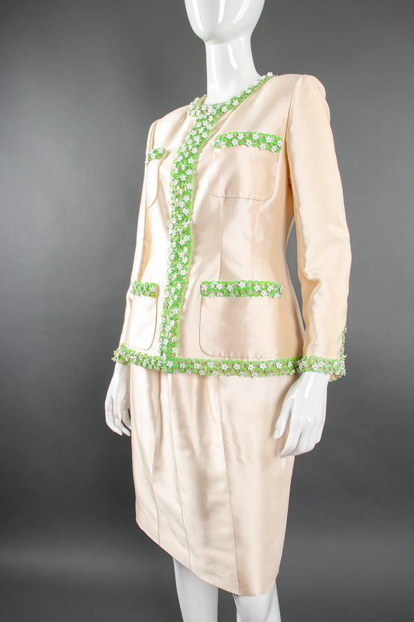 Vintage Chanel 1996P Daisy Bead Jacket & Skirt Suit Bridal Wedding on Mannequin crop @ Recess LA