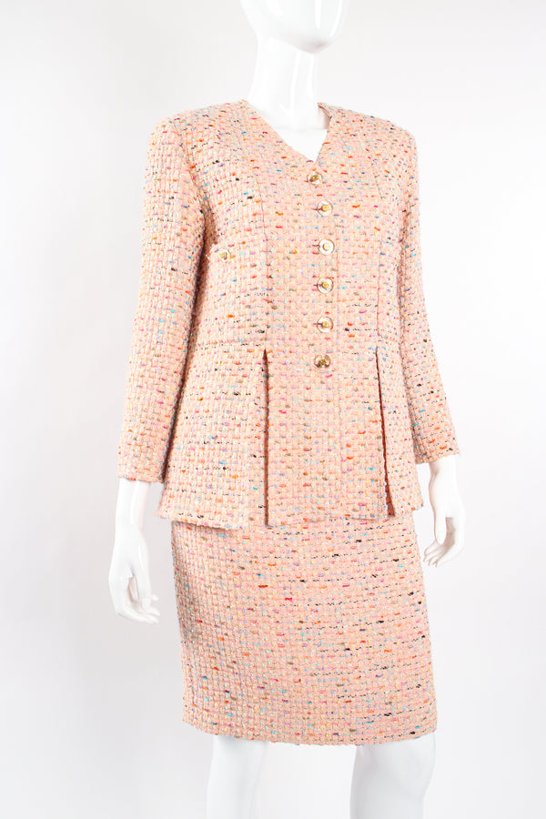 Vintage Chanel SS 1994 Runway Bouclé Tweed Vent Jacket & Skirt Set on Mannequin crop at Recess LA