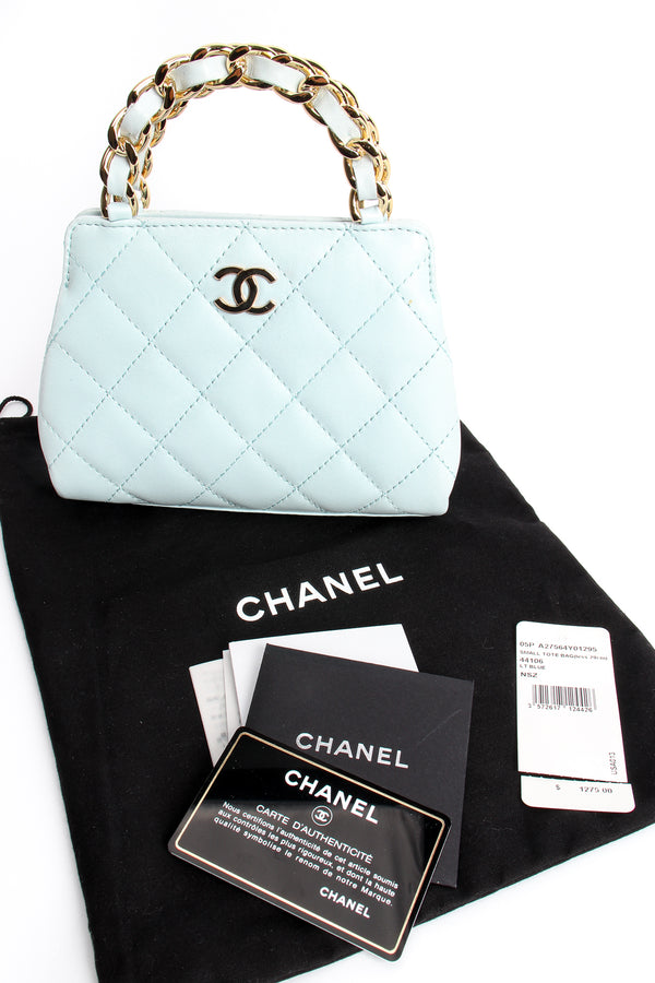 Vintage Chanel Powder Blue Quilted Mini Tote dustbag authenticity card at Recess Los Angeles