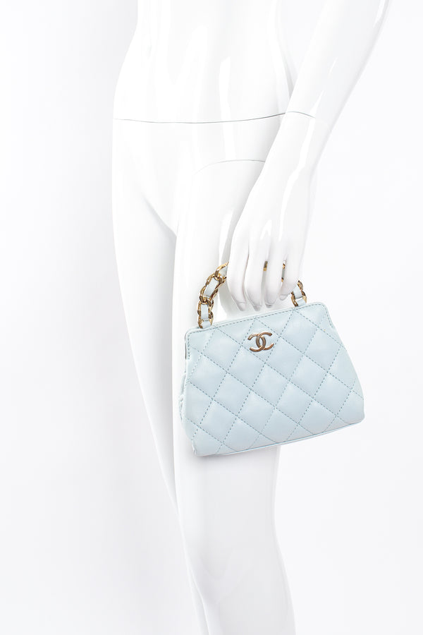 Vintage Chanel Powder Blue Quilted Mini Tote on mannequin at Recess Los Angeles
