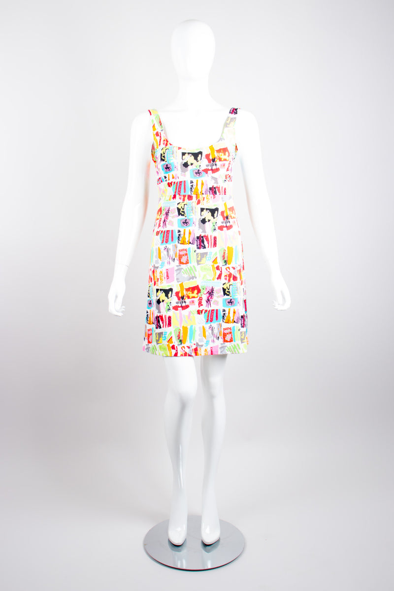 Chanel Graffiti Print Marker Pen Fit and Flare Skater Tank Dress