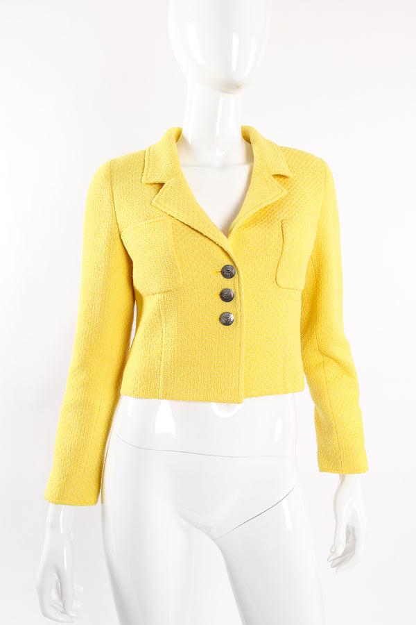 Vintage Chanel Yellow Basketweave Tweed Shrunken Jacket on Mannequin front at Recess Los Angeles