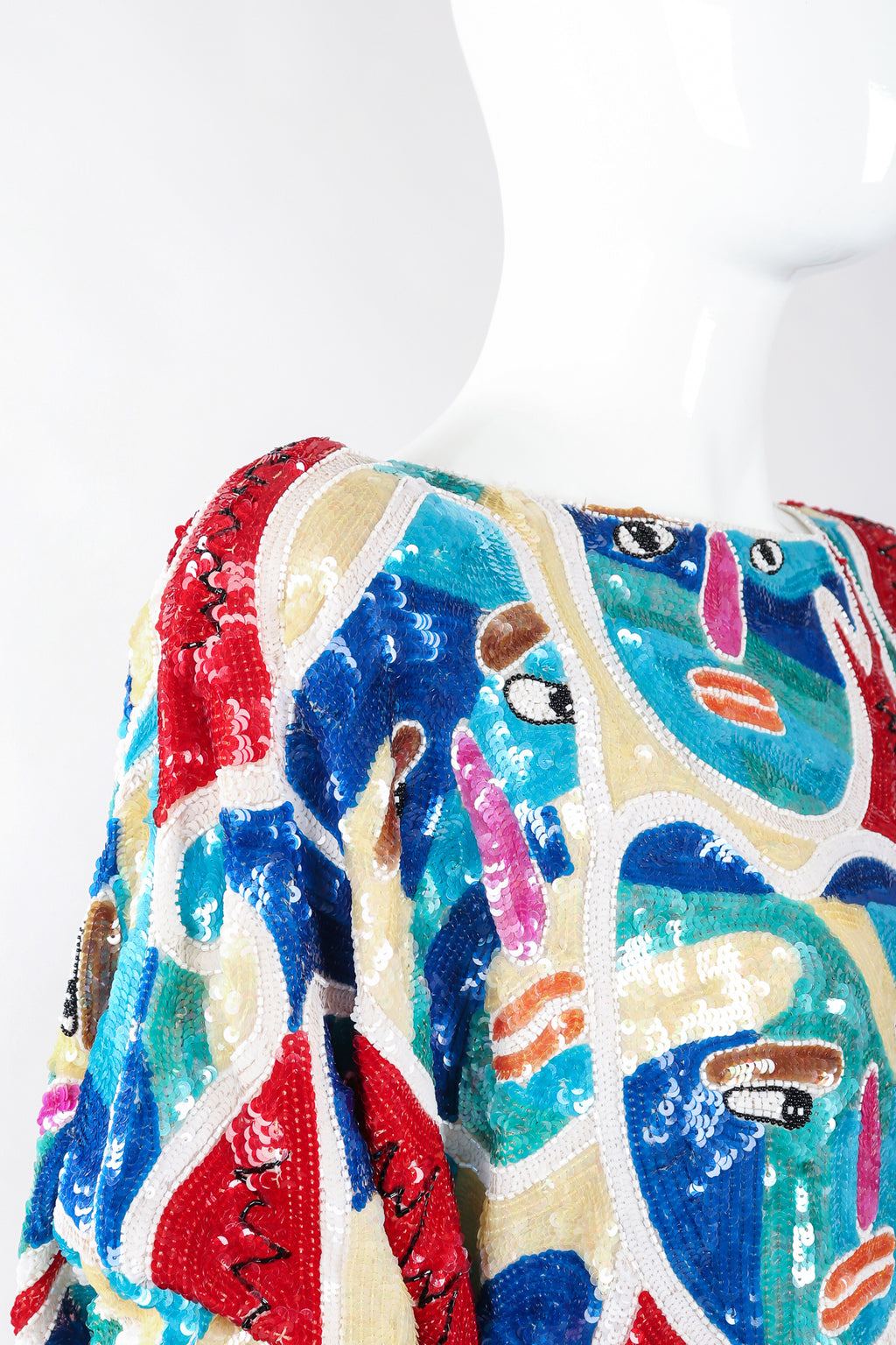 Recess Los Angeles Designer Consignment Vintage Chanson D'Amour Abstract Sequined Faces Dolman Tunic