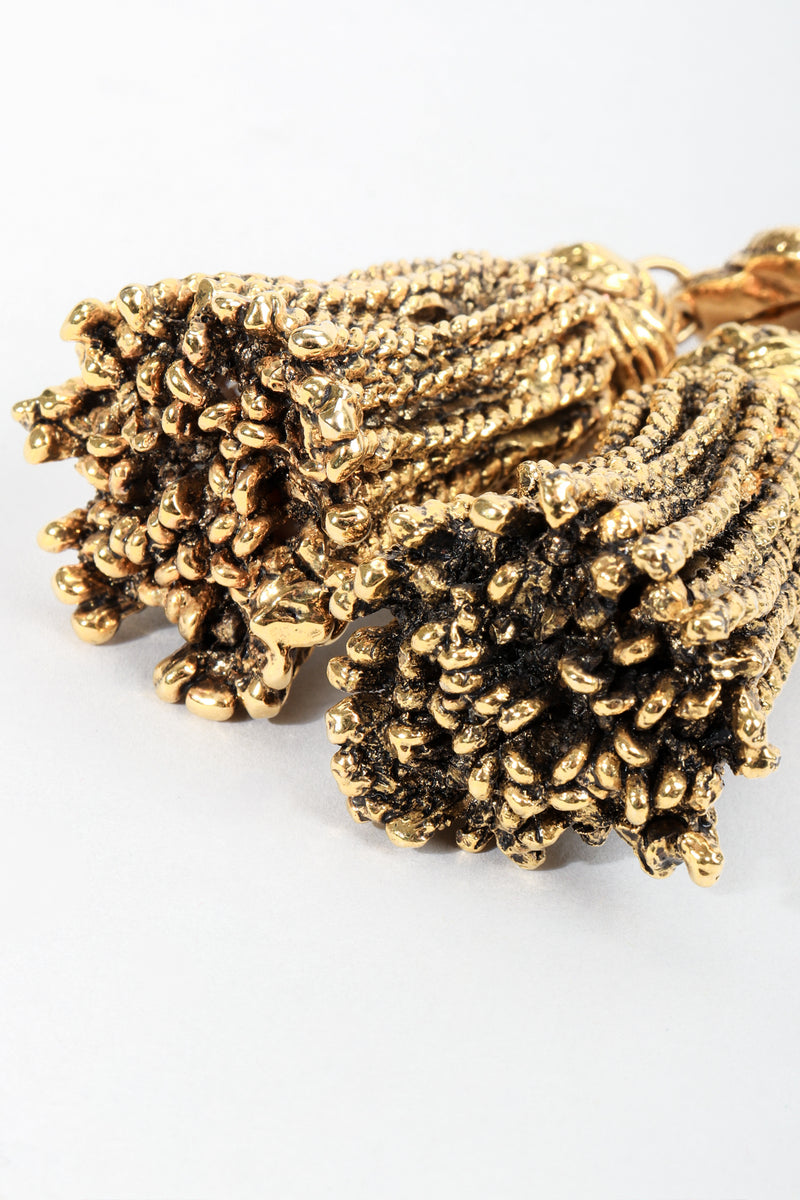 Vintage Chantal Thomass Gold Sculpted Tassel Earrings tassel detail