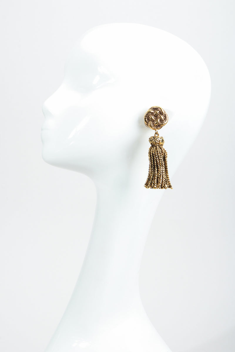Vintage Chantal Thomass Gold Sculpted Tassel Earrings on Mannequin at Recess Los Angeles
