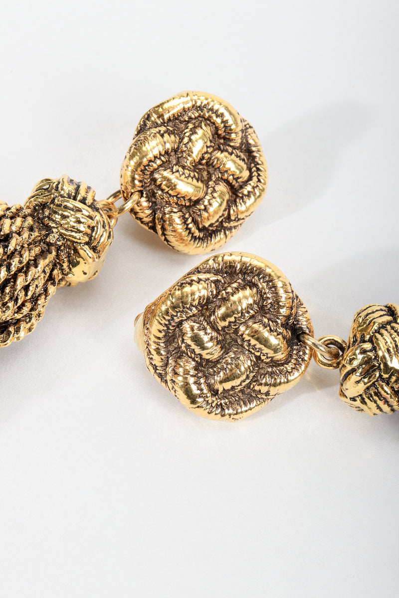 Vintage Chantal Thomass Gold Sculpted Tassel Earrings knot detail