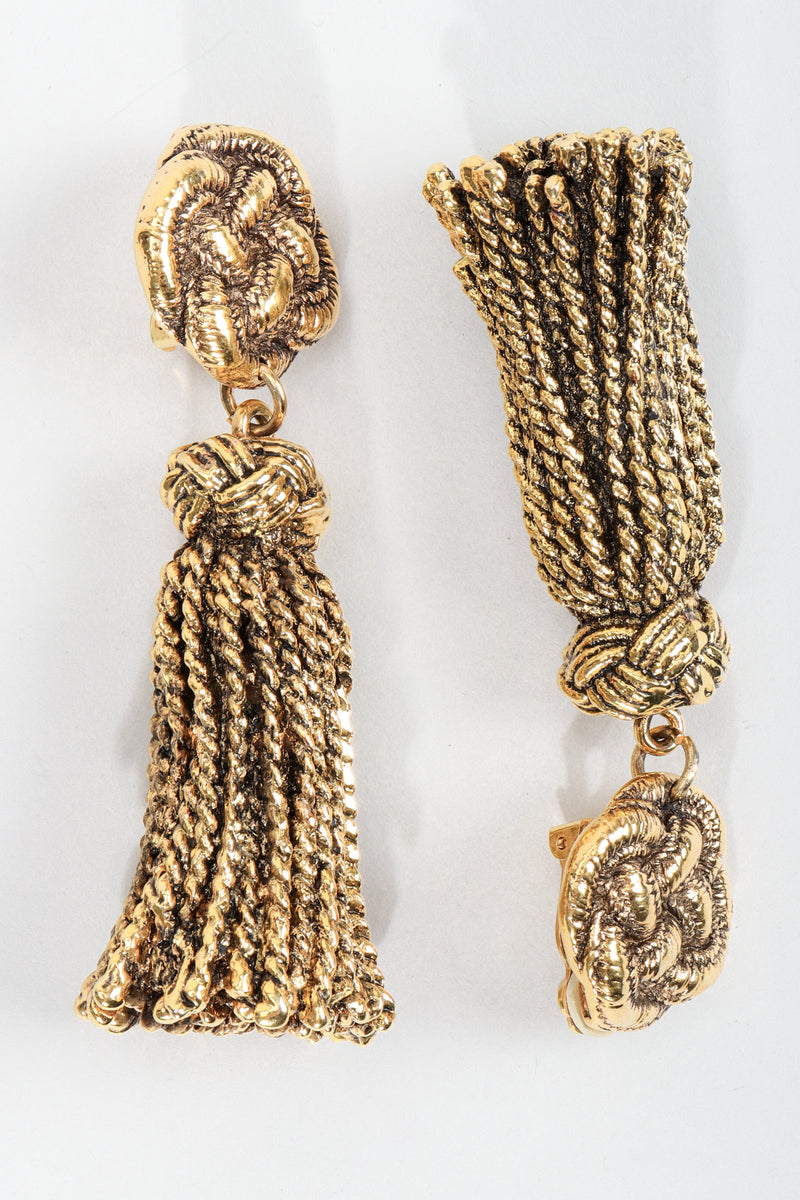 Vintage Chantal Thomass Gold Sculpted Tassel Earrings at Recess Los Angeles