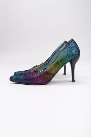 Recess Los Angeles Vintage Charles Jourdan Electric Rainbow Lamé Heels