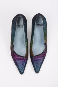 Recess Los Angeles Vintage Charles Jourdan Electric Holographic Holo Rainbow Lamé Heels
