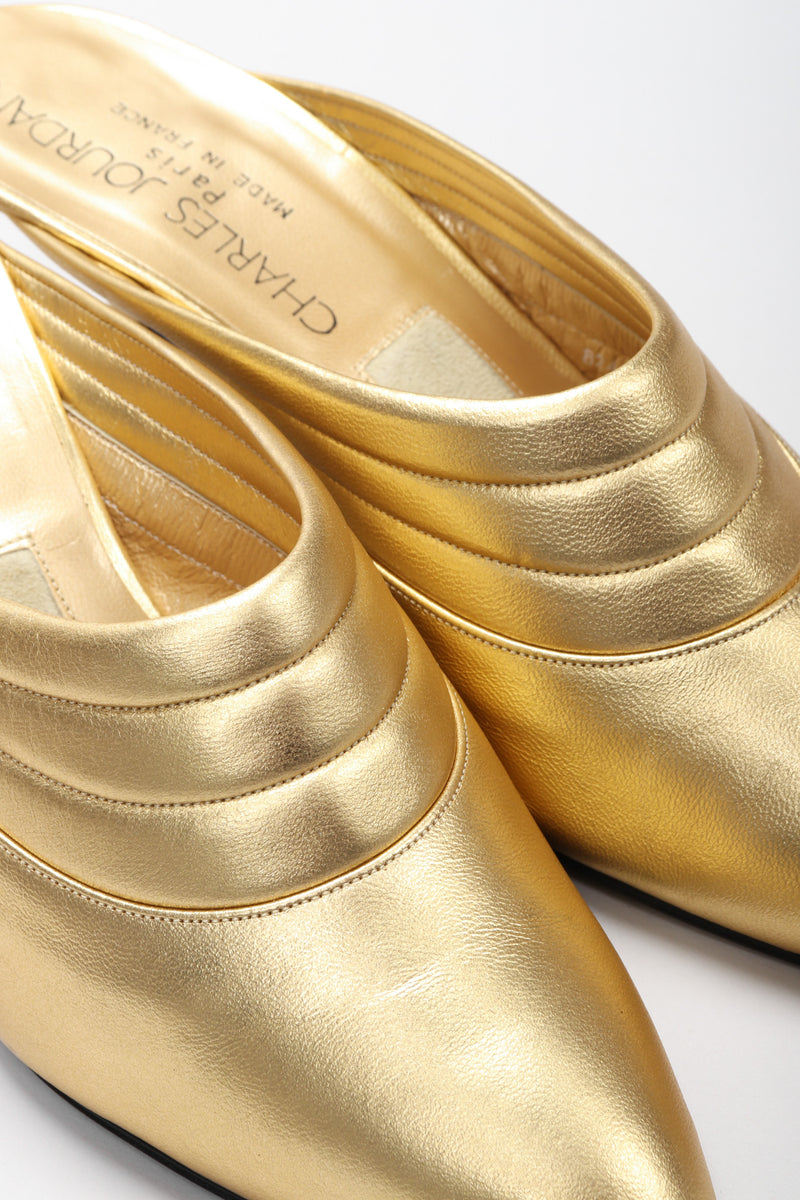 Recess Los Angeles Vintage Charles Jourdan Quilted Gold Leather Lamé Mules
