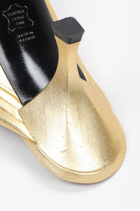 Gold Leather Lamé Mules