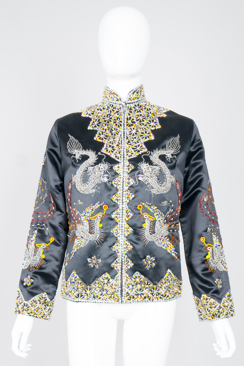 Vintage British Hong Kong Beaded Phoenix Silk Satin Zip Jacket