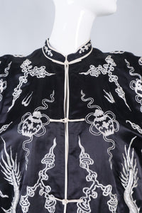 Vintage Silk Chinese Metal Embroidered Dragon Robe