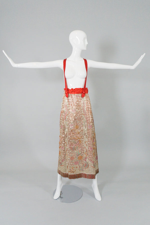 Chinese Metal Embroidered Dragon & Phoenix Vintage Skirt on Mannequin at Recess LA