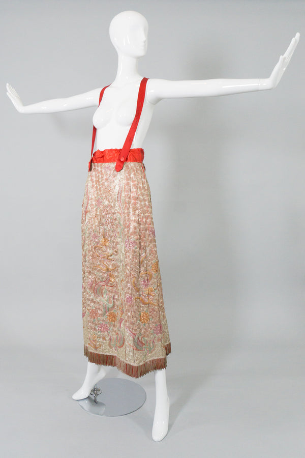 Chinese Metal Embroidered Dragon & Phoenix Vintage Skirt on Mannequin angle at Recess LA