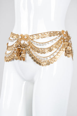 Recess Los Angeles Vintage Unsigned Belly Dance Draped Coin Pearl Chain Belt