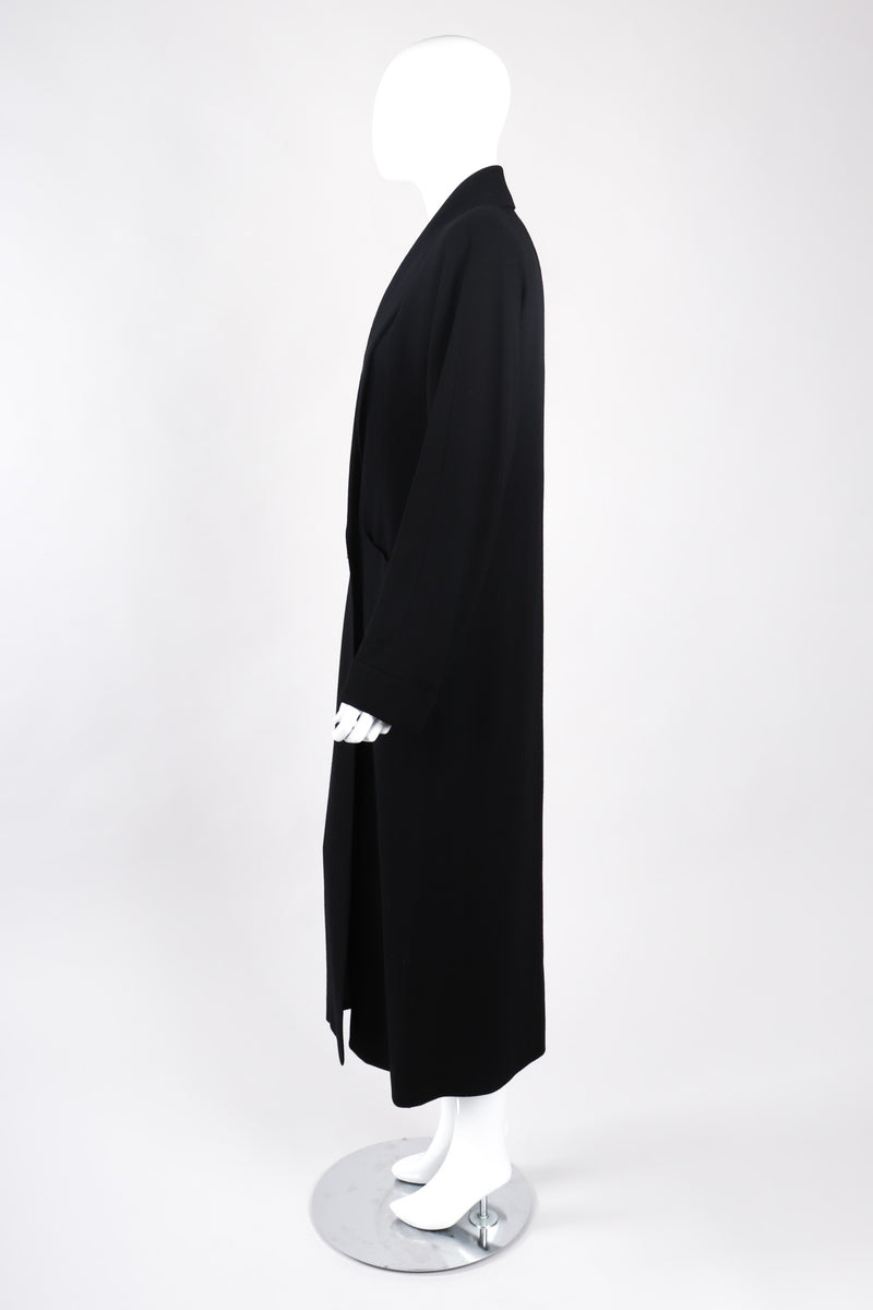 Recess Los Angeles Vintage Chloe Long Black Duster Double Breasted Coat Clean Lined Shawl Collar Cuffed Sleeves Rhinestone Buttons