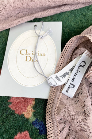 Vintage Christian Dior Deadstock Sheer Lace Logo Bodysuit label and tag at Recess Los Angeles