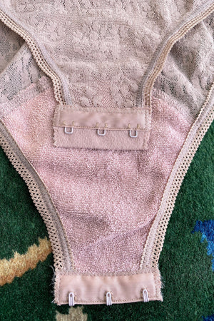 Vintage Christian Dior Deadstock Sheer Lace Logo Bodysuit hook and eye detail at Recess Los Angeles