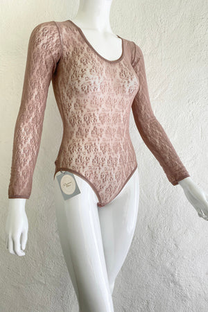 Vintage Christian Dior Deadstock Sheer Lace Logo Bodysuit on Mannequin Angle at Recess Los Angeles
