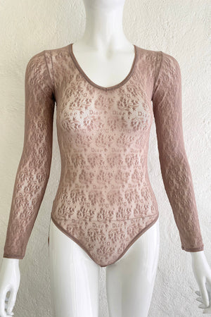Vintage Christian Dior Deadstock Sheer Lace Logo Bodysuit on Mannequin Front at Recess Los Angeles