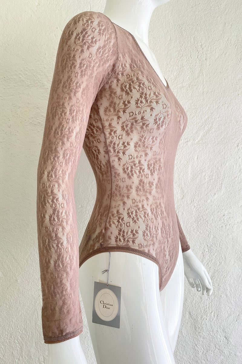 Vintage Christian Dior Deadstock Sheer Lace Logo Bodysuit on Mannequin Side at Recess Los Angeles