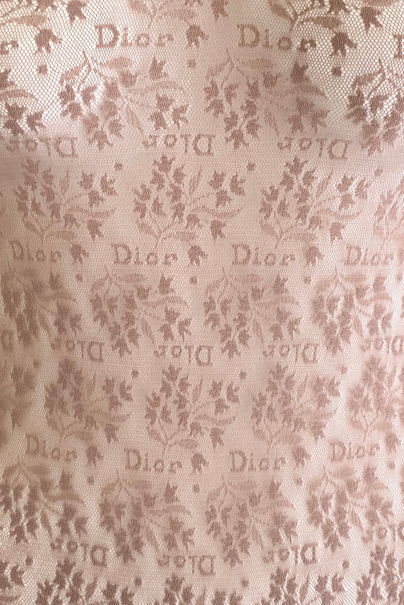 Vintage Christian Dior Deadstock Sheer Lace Logo Bodysuit fabric detail at Recess Los Angeles