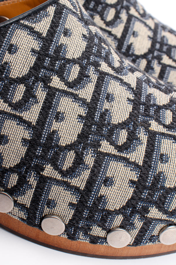 Vintage Christian Dior Monogram Twill Clogs fabric detail at Recess Los Angeles