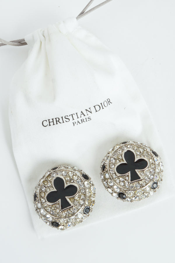 Vintage Christian Dior Crystal Club Suit Earrings with dust bag at Recess Los Angeles