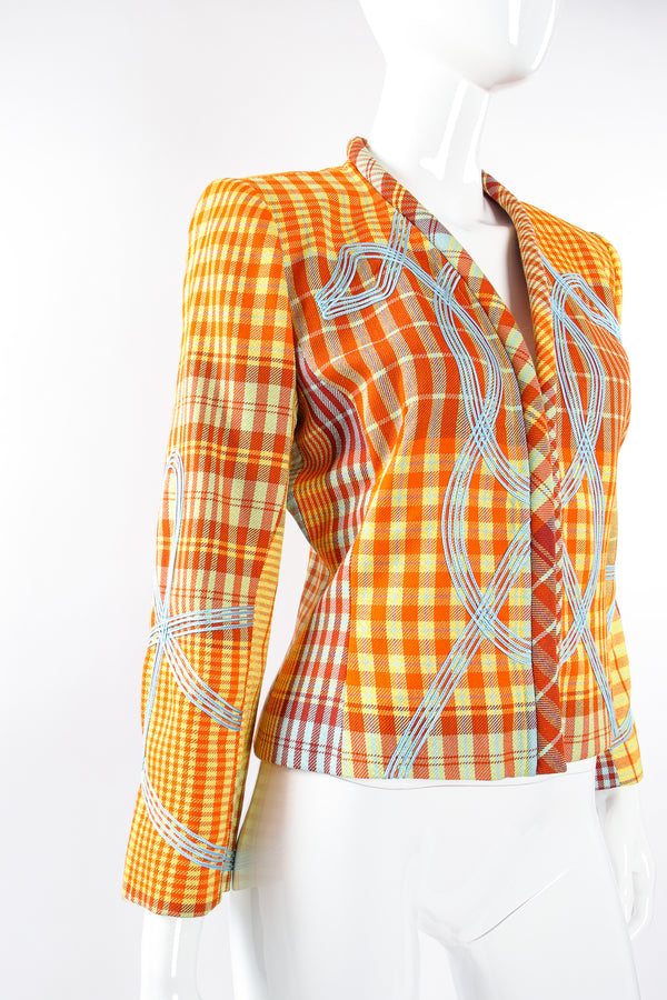 Vintage Christian Lacroix Madras Check Jacket on Mannequin angle at Recess Los Angeles