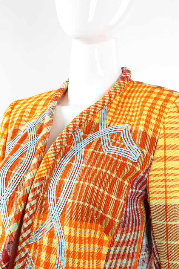 Vintage Christian Lacroix Madras Check Jacket on Mannequin neck at Recess Los Angeles
