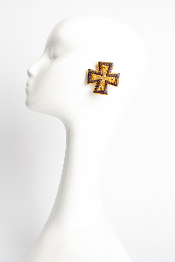Vintage Christian Lacroix Leather Cross Earrings on Mannequin at Recess Los Angeles