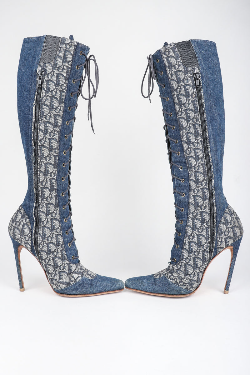 Recess Designer Consignment Vintage Christian Dior Tall Denim Monogram Boots Los Angeles Resale