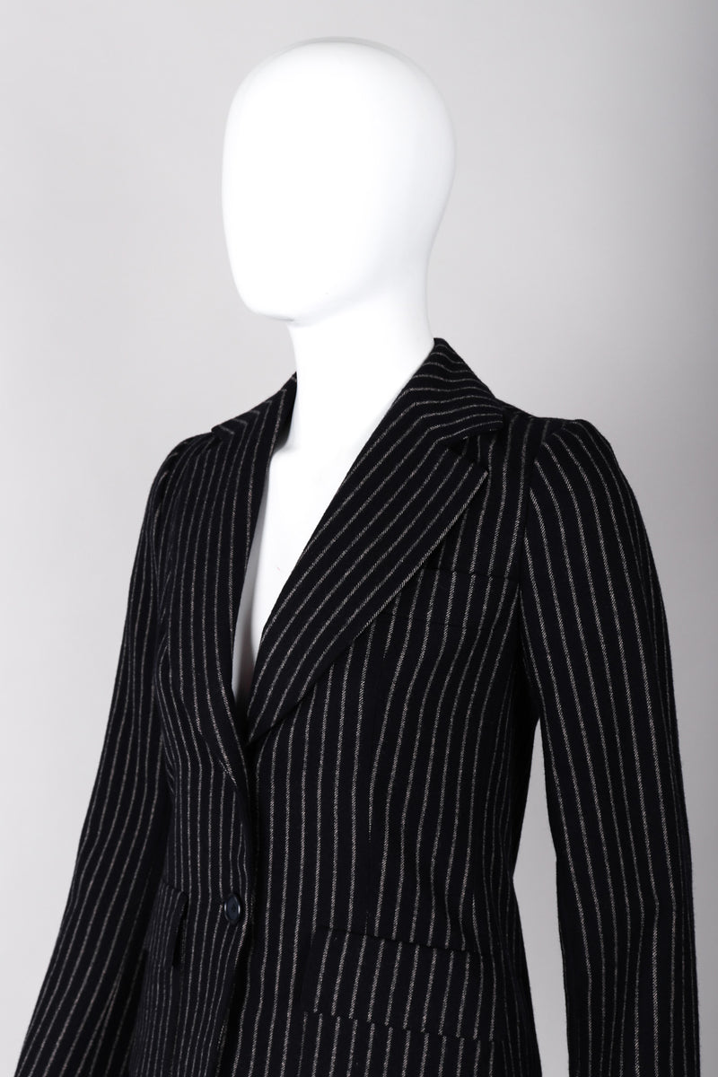 Recess Los Angeles Vintage Christian Dior Couture Jacket Skirt Set Navy Pinstripe Wool